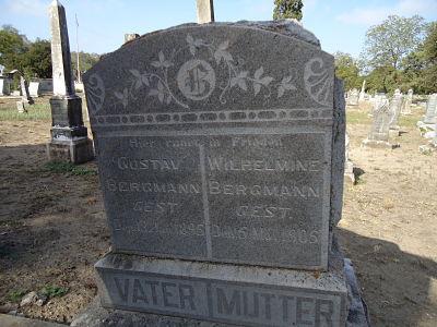 Gustav and Wilhelmina Bergmann's Tombstones