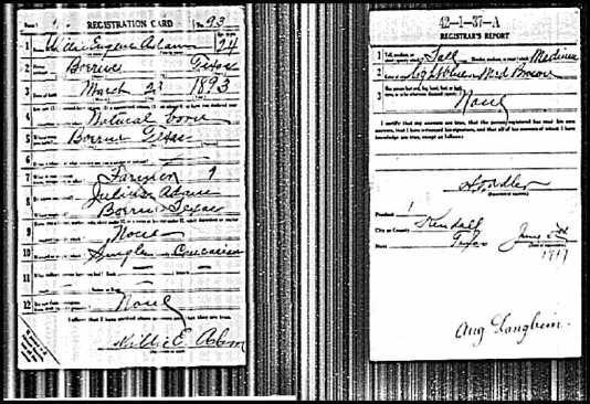 U.S.WorldWarIDraftRegistrationCards1917-1918ForWillieEugeneAdam
