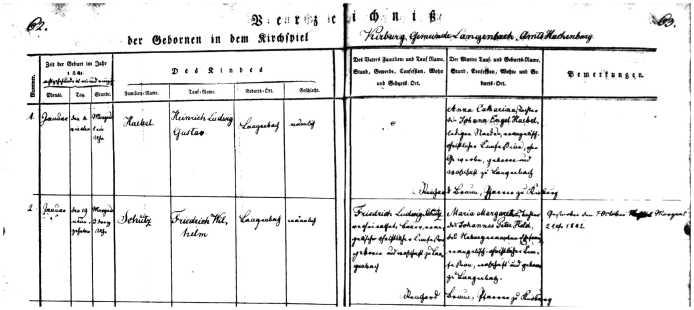 Schutz,FriedrichWilhlemsonofLudwig1840birthLangengbachcloseup